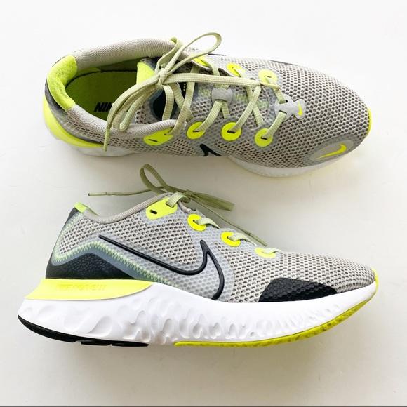 Nike Mens Renew Run Grey Fog Volt Tennis Shoes